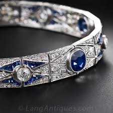 sapphire bracelet with diamonds images Art deco sapphire and diamond bracelet jpg