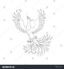 phoenix bird hand drawn sketch vector stock vector 336357026