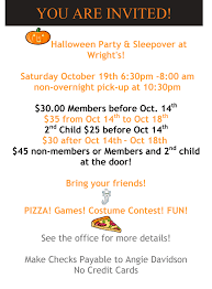 halloween sleepover wrights gymnastics academy