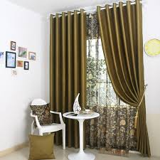 olive green curtains of solid types of 2 panels
