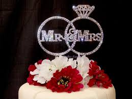 ring cake topper gorgeous mr mrs real rhinestone rings wedding cake topper