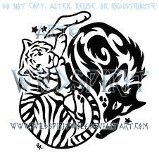 yin yang tiger and wolf tribal design by wildspiritwolf on deviantart