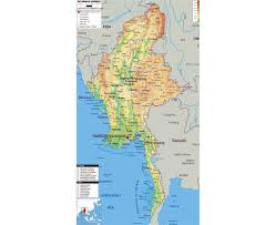 India Physical Map by Maps Of Burma Detailed Map Of Burma Myanmar In English
