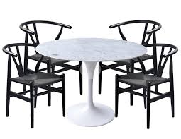 replica tulip marble dining table 120cm and wishbone all black