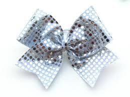 sequin ribbon silver sequin cheer bow