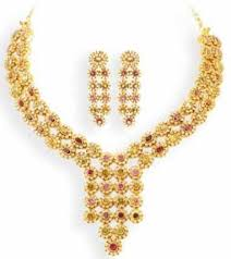 girls gold necklace images Multicolor gold necklace with earrings for women girls 2013 jpg