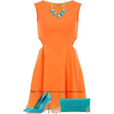 orange dress orange dress turquoise accessories polyvore