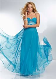 empire waist flowing long turquoise blue chiffon beaded prom dress
