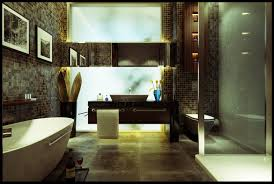 spacious modern bathroom with splash back glass mosaic walls
