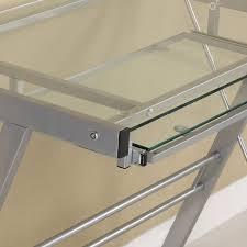 Black Glass L Shaped Computer Desk by Amazon Com Glass Metal Silver Computer Desk Kitchen U0026 Dining