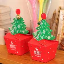 new years party box 50pcs christmas tree gift box cookie cholocate food packing paper
