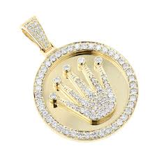 white gold necklace pendants images Rolex style diamond pendant 3ct yellow white gold crown medallion jpg