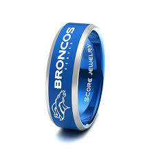 denver wedding band black tungsten band ring mens womens ring nfl football denver