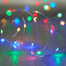 20 multi coloured led micro lights battery operated bare