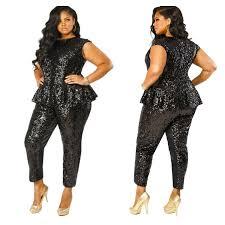 black plus size jumpsuits gotta it this sequin peplum plus size jumpsuit from monif c