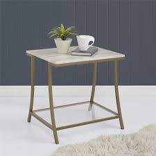 living spaces side tables dorel living dorel living moriah side table soft brass faux marble