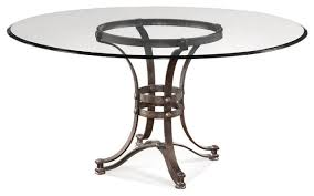 industrial glass dining table bassett mirror tempe 60 inch round glass dining table w metal