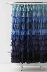 Ruffle Shower Curtain Anthropologie Blue Ruffle Shower Curtain Shower Ideas