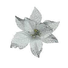 silver flowers 6pcs 5 inch glitter artificial wedding christmas