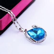 blue crystal necklace pendant images Aqua blue crystal wrapped pendant necklace styling stones jpg