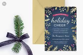 holiday party invite foil foliage invitation templates