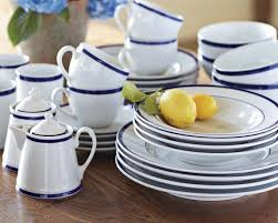 place settings brasserie blue banded porcelain dinnerware place settings williams