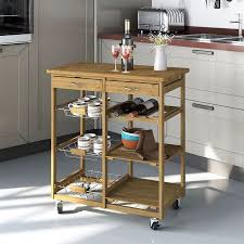 clevr rolling bamboo kitchen cart island trolley cabinet w bar