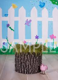 tree stump and birds digital backdrop flying arrow