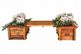 Garden Bench With Planters Redwood Planters U0026 Raised Garden Beds Redwood Northwest