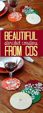 stenciled cd dvd coasters crafts by amanda