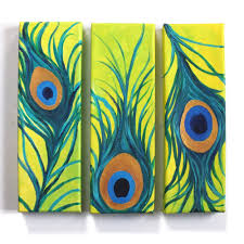 three peacock feathers no 3 whimsical art for home and office