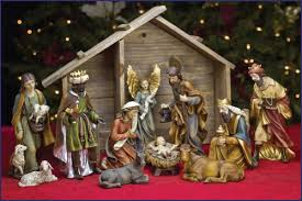 8 11pc resin nativity set with stable