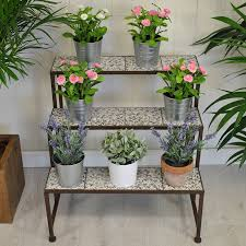 stylish ditsy ceramic etagere three tier plant stand by garden