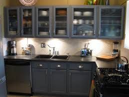 kitchen with dark grey cabinets and glass cabinet doors glass