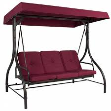 belleze 3 seat patio swing bench converting bed with canopy