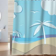 Tropical Beach Shower Curtains by Sunlit Designer Clips Art Sea Sandy Beach Shower Curtain With