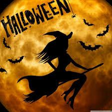 halloween themed wallpaper halloween witch on broom orange hd desktop wallpaper widescreen
