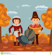 thanksgiving day children apples and turkey vector illustration