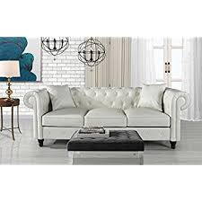 Chesterfield Sofa White Classic Living Room Bonded Leather Scroll Arm