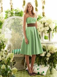 knee length pale green strapless dress replace brown sash with