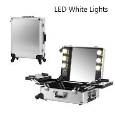 lighting for makeup artists silver led white light makeup artist box aluminum rolling