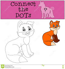 educational games for kids connect the dots little cute baby fox