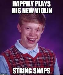 Violin Meme - happily plays his new violin string snaps