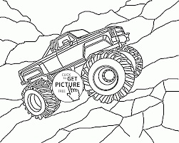 large monster truck coloring page for kids transportation