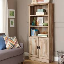 furniture white wooden glassdoor bookcase combine with brown