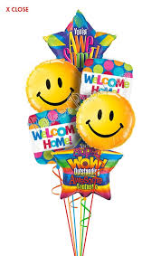 big smiles welcome home balloon bouquet 6 balloons balloon
