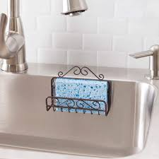 kitchen sink cabinet sponge holder scroll collection kitchen sink bathroom vanity and countertop steel sponge holder with plastic back suction cups bronze