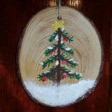 ornament painted wooden circle snow 1