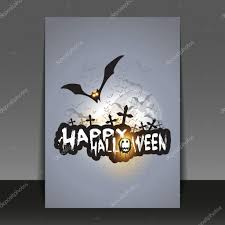happy halloween card flyer or cover template with flying bats