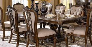 homelegance bonaventure park double pedestal dining table gold
